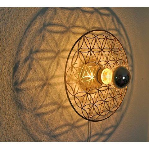 wand deckenleuchte blume des lebens edelstahl gold ebay. Black Bedroom Furniture Sets. Home Design Ideas